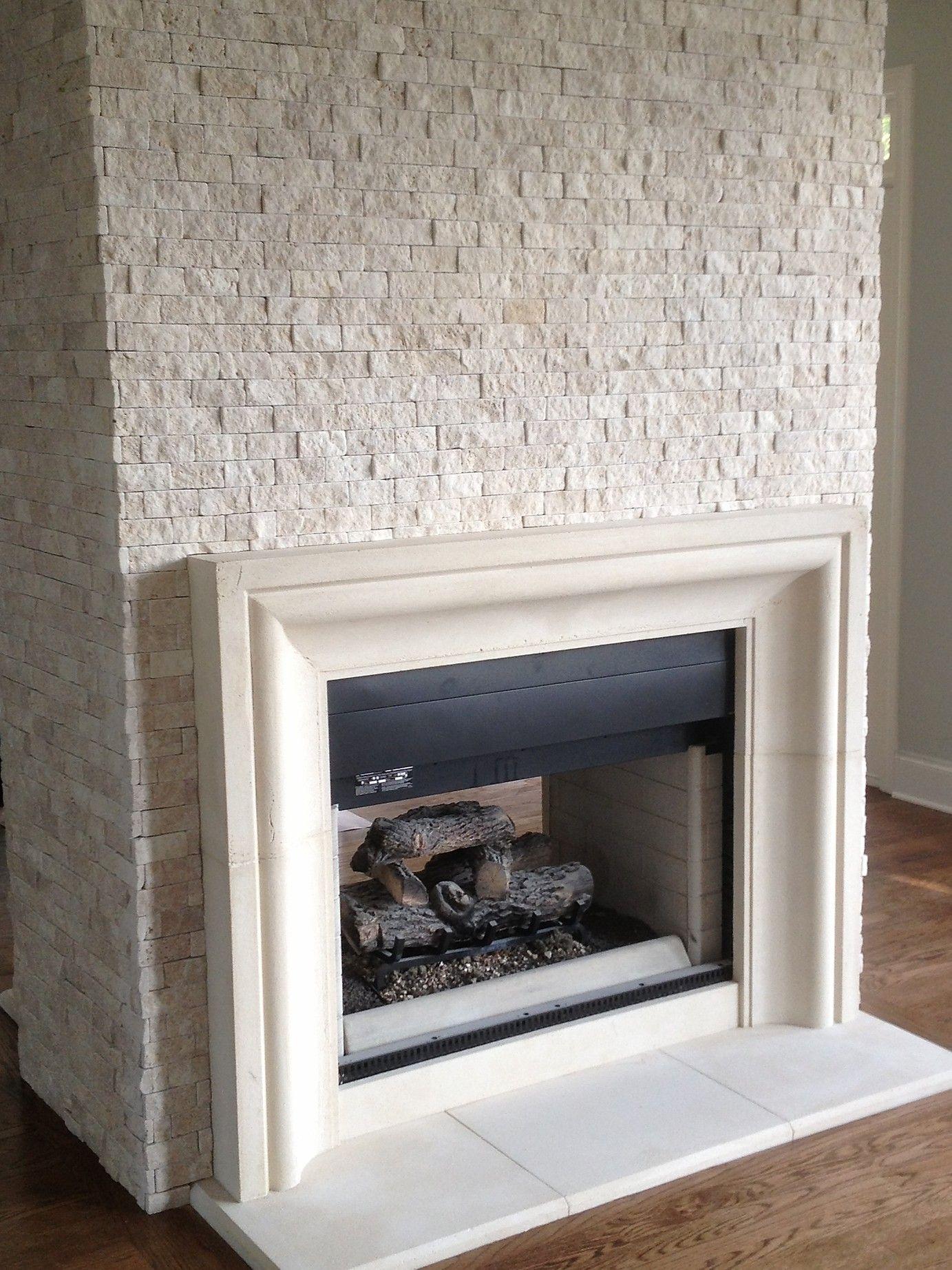 Cast stone fireplace limestone mantel surround precast
