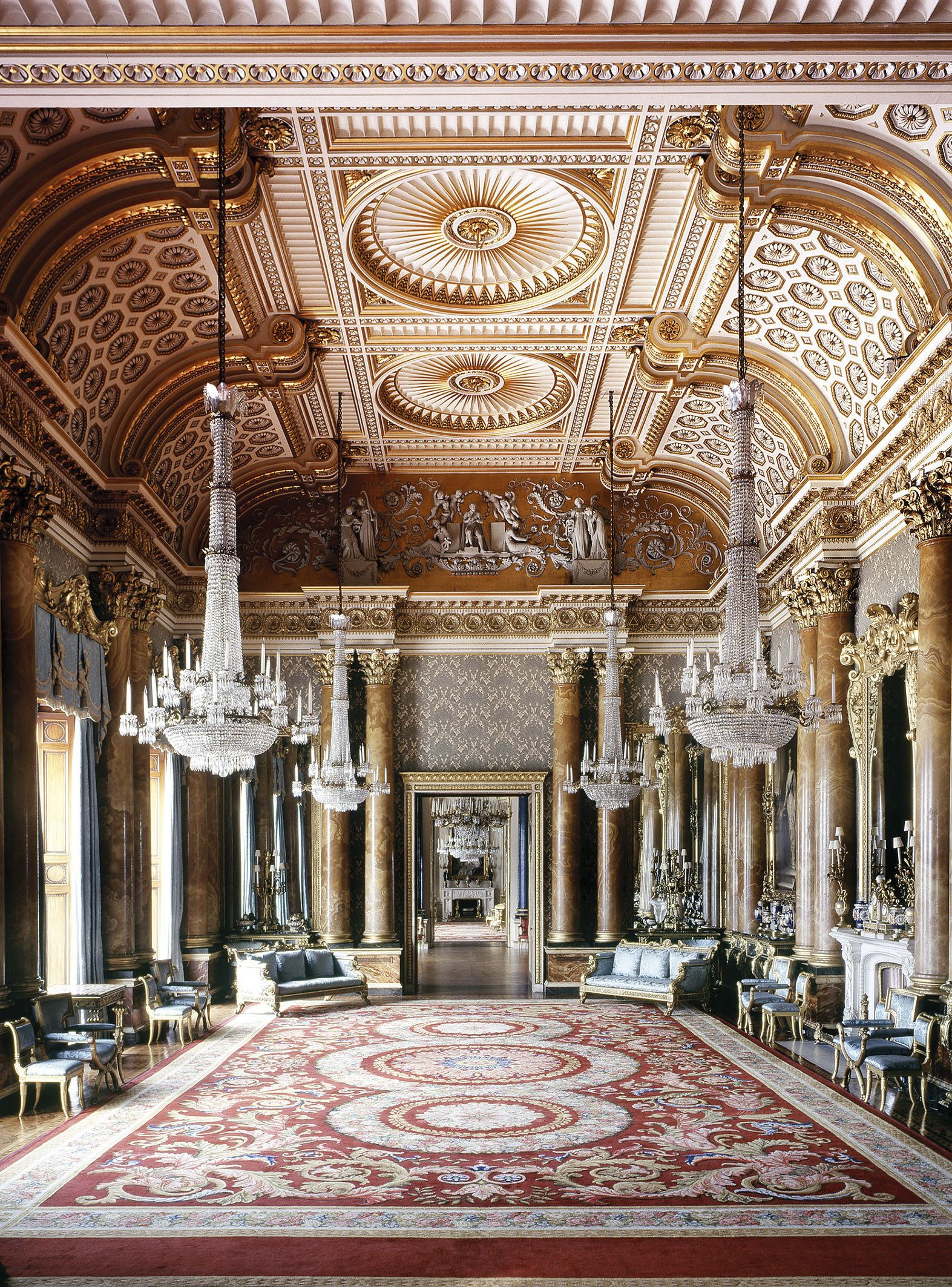 Inside House Drawing: The Blue Drawing Room, Buckingham Palace