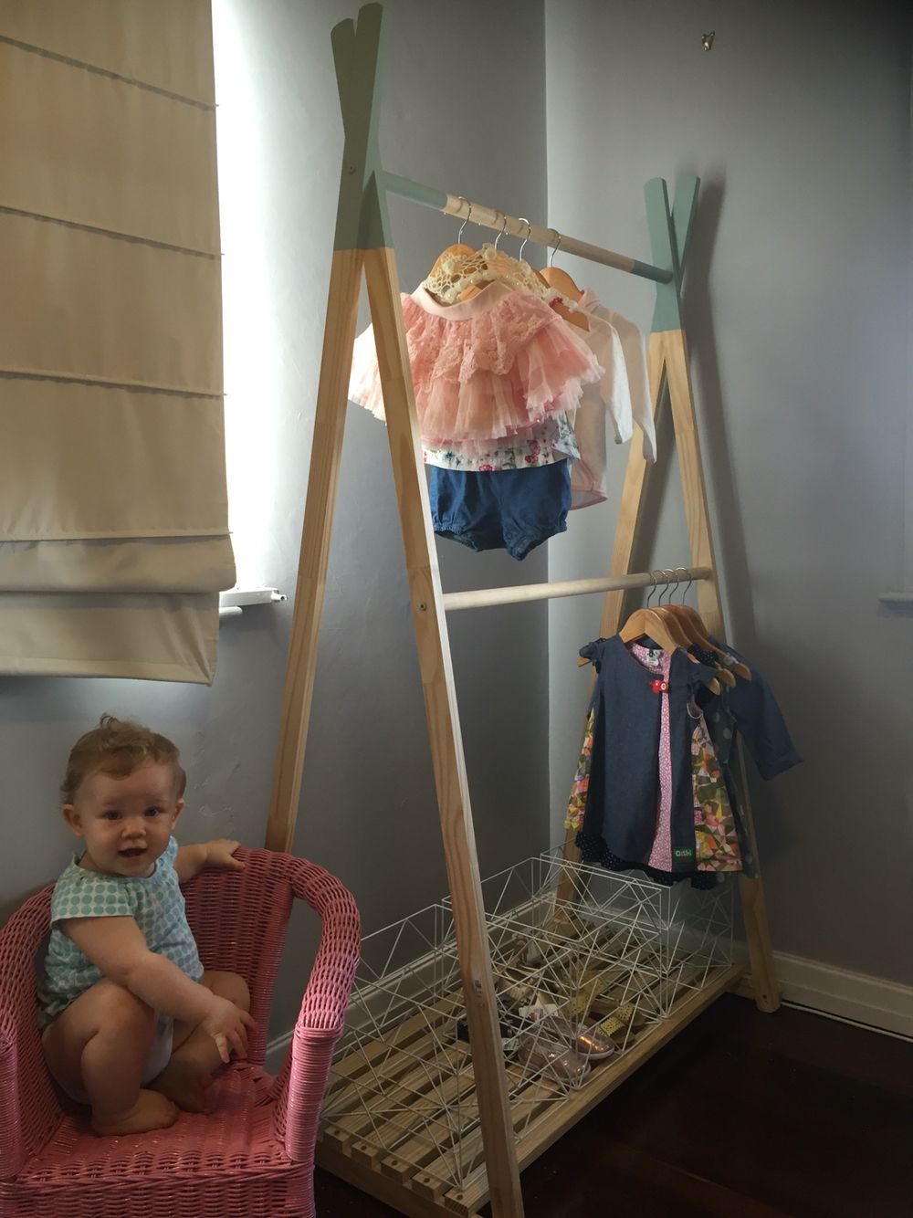Scandistyle teepee clothes rack. Homemade. Annie Sloane