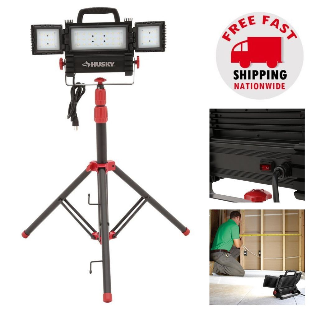 Led Work Light With Tripod Stand Indoor Outdoor Adjustable Folding 2500 Lumens Husky Led Work Light Work Lights Led