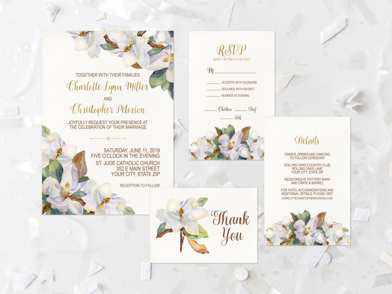 Wedding Invitation Suite Printable Magnolia Floral Wedding Invite Whit Magnolia Wedding Invitations Etsy Wedding Invitations Wedding Invitation Suite Printable
