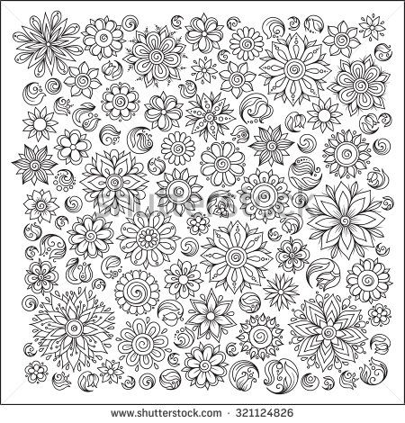 Pattern for coloring book. Ethnic, floral, retro, doodle, vector, tribal design…