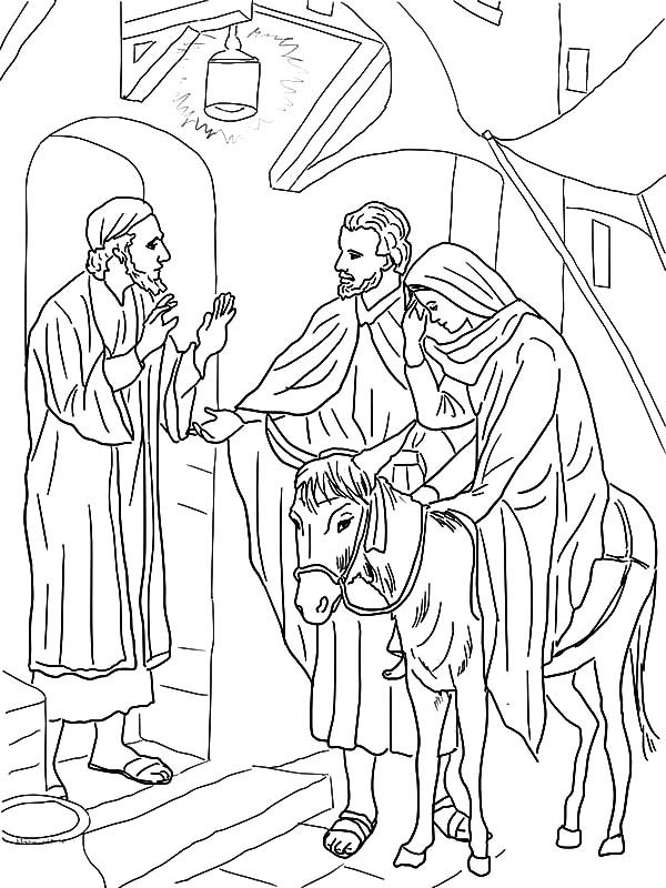 No Room At The Inn For Mary And Joseph And The Donkey Coloring Pages Best Place To Color Jesus Coloring Pages Bible Coloring Pages Christmas Coloring Pages