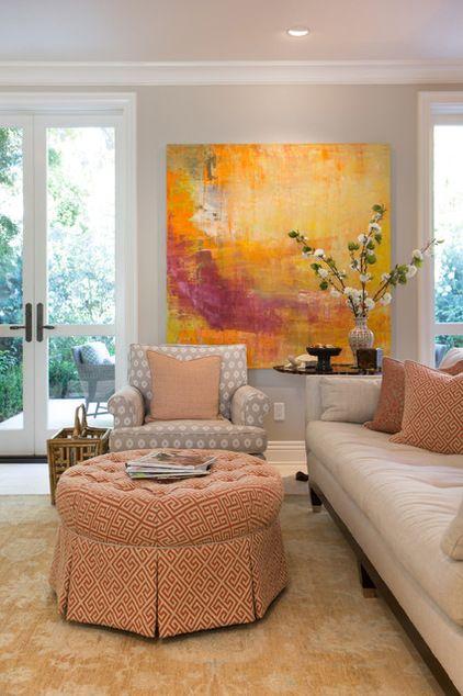 Traditional living room by charmean neithart interiors for Abstrakte bilder wohnzimmer