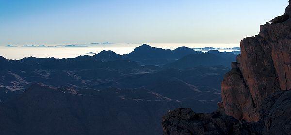 Dawn on Mount Sinai on the Sinai Peninsula in Egypt