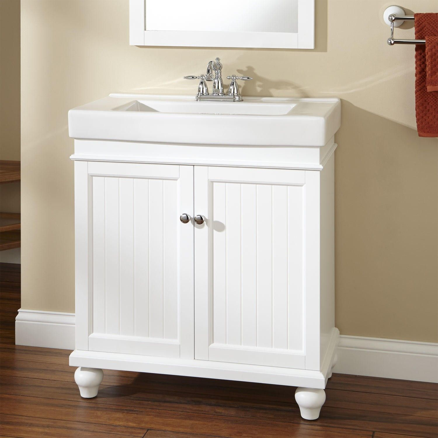 30 lander vanity white vanities bath and bathroom for Bathroom cabinets 30 inch