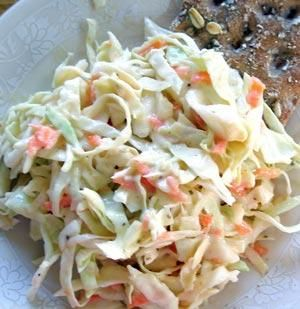 Creamy Coleslaw with Greek Yogurt Dressing  Just made this and it is really good especially after it sits for a couple hours!