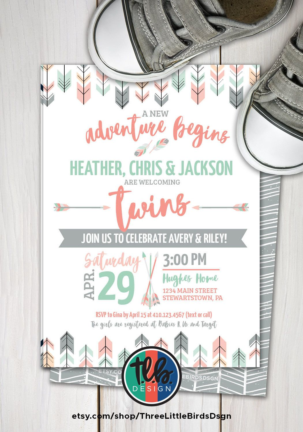 TWINS baby shower invite, baby girl twins shower invitation, tribal ...