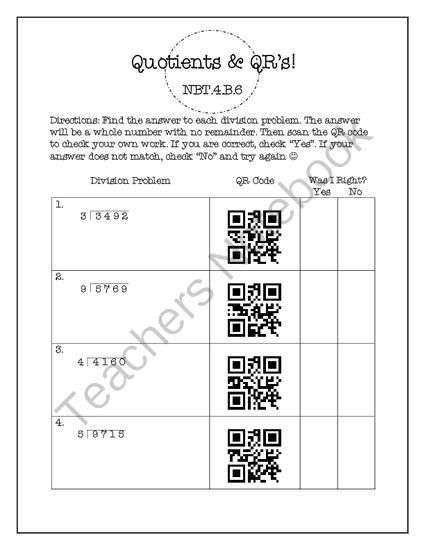 free 4 digit division worksheet with qr codes from differentiated delights on teachersnotebook. Black Bedroom Furniture Sets. Home Design Ideas