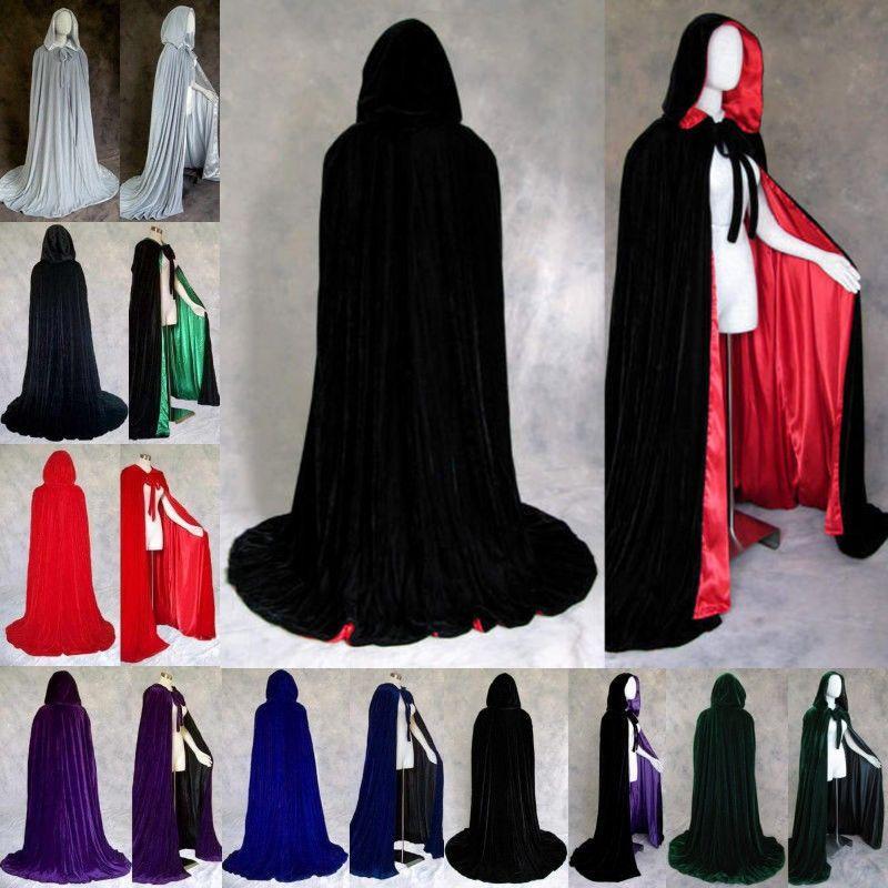 Wine red black velvet hooded cloak wedding cape Halloween wicca robe coat S-2XL