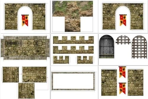 Free Scale Paper House Papermau: Medieval Castle Facade For Mini Figures In 1/25 Scale