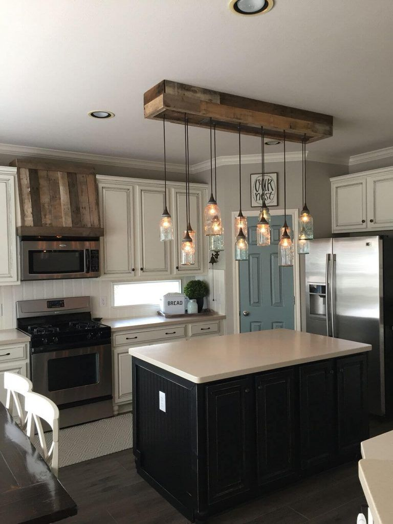 36 Farmhouse Lighting Ideas To Brighten Up Your Space In A Charming Way Home Decor Kitchen Kitchen Island With Seating Kitchen Remodel