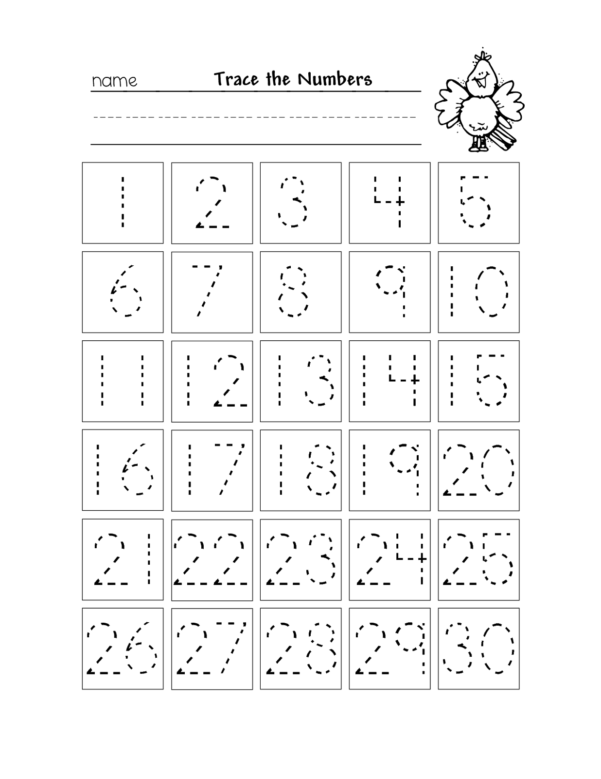 Trace the Numbers for the First Level Numbers preschool
