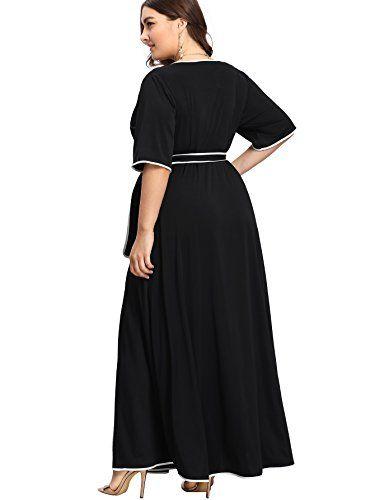 327040e662 nice Romwe Women s Cute Plus Size Contrast Binding Belted Wrap V Neck Maxi  Dress