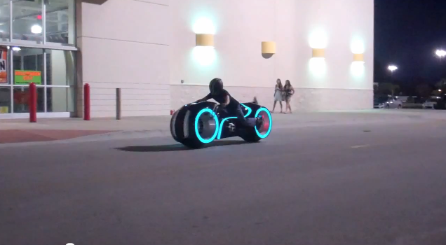 all-electric Tron lightcycle hits the streets - made by Parker Bros.  Now that would be a fun bike!