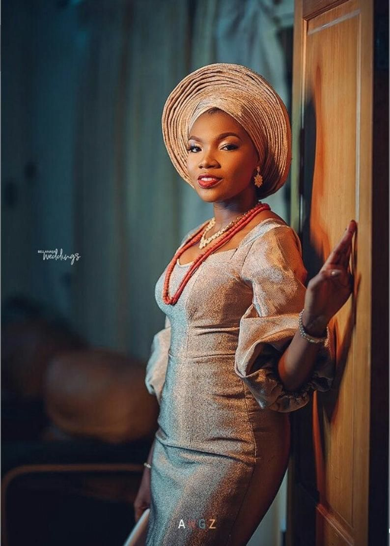 Custom Made Nigeria Complete Bride And Groom Aso Oke Etsy In 2020 Traditional Wedding Attire Bride African Wedding Attire