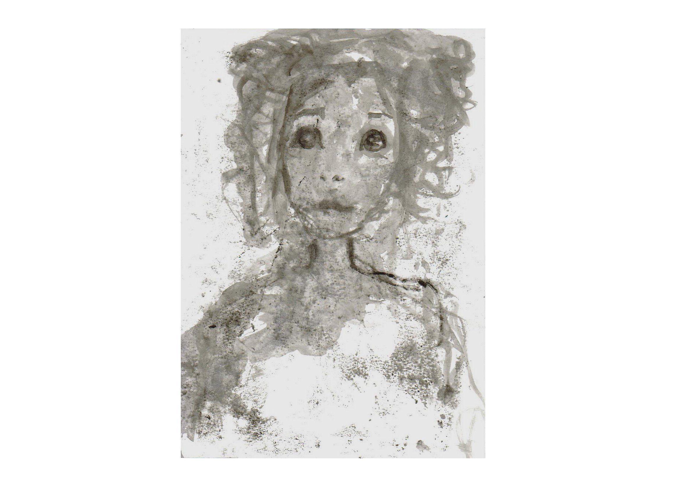 Peinture portrait femme original blanc noir gris visage esquisse