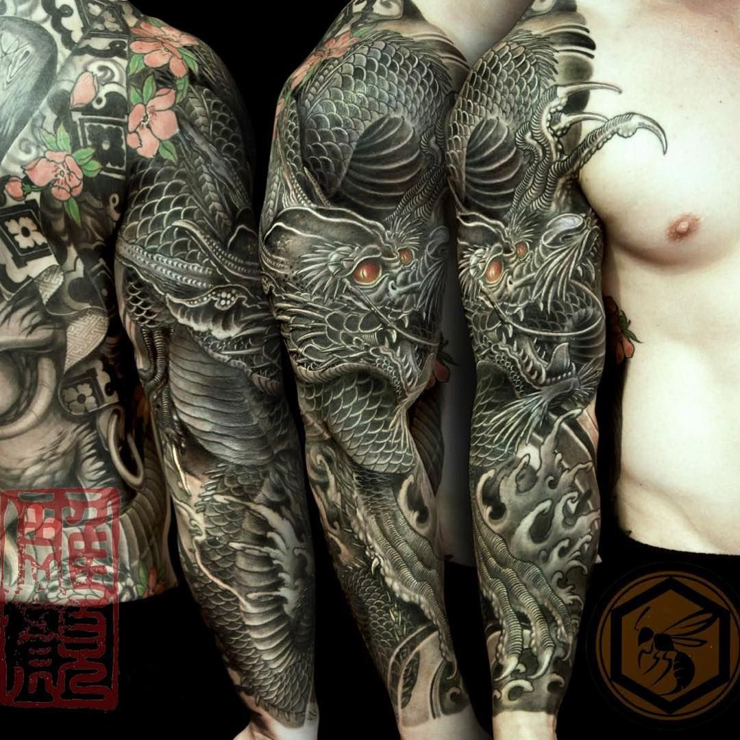 "Full Body Tattoo Sleeve: ""Full Sleeve Tattoo Is Completed With A Black Dragon"