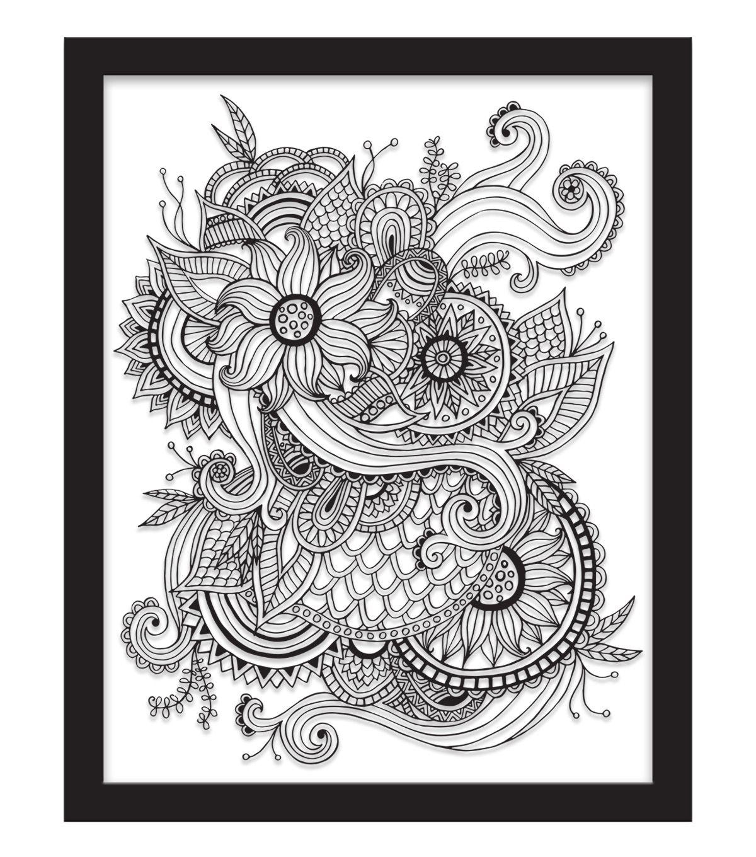 11x14 Color In Floral Tattoo Float Frame - Black