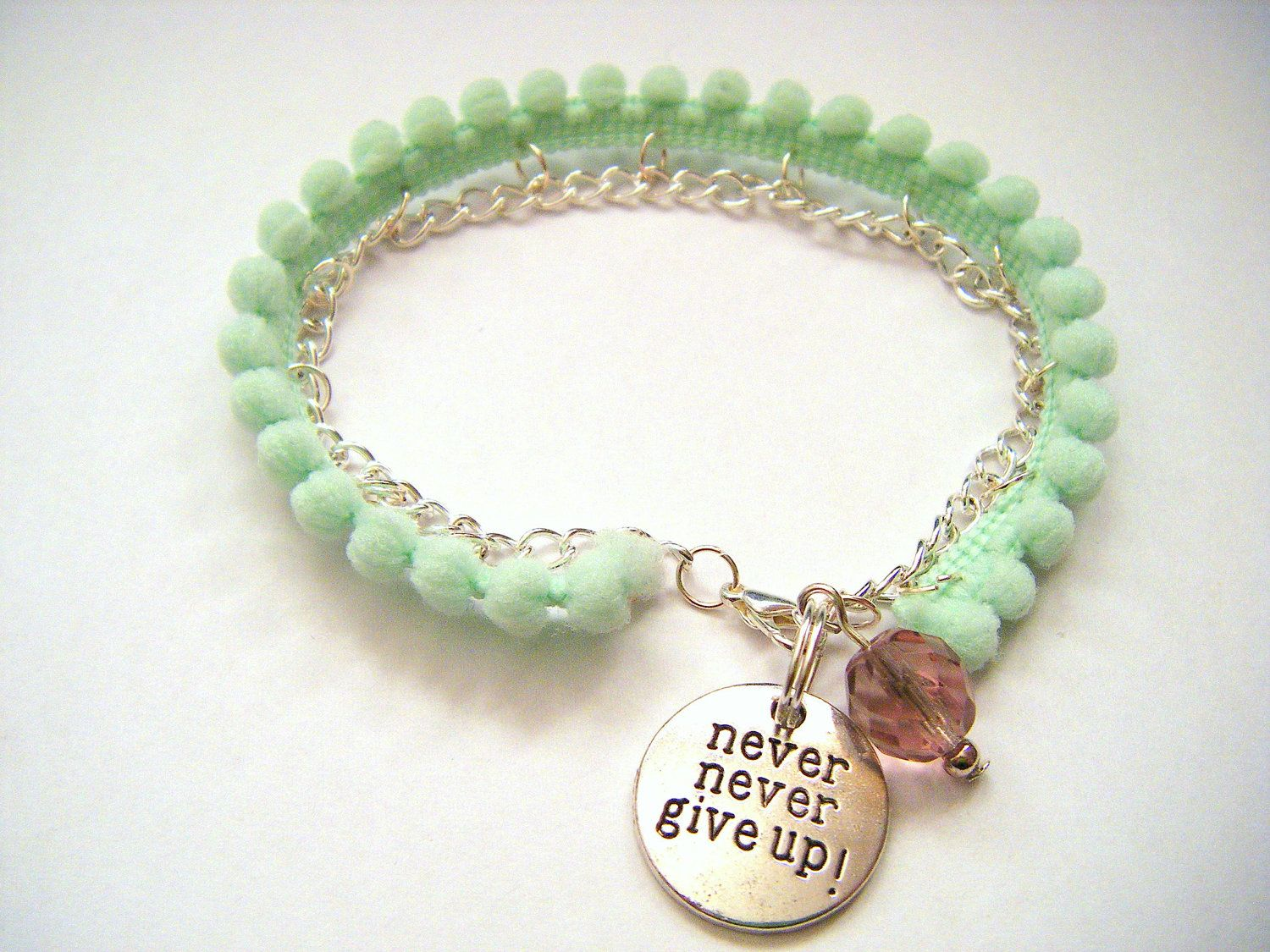 Mint Green Pom Pom bracelet - Raising mental health awareness. £8.00, via Etsy.