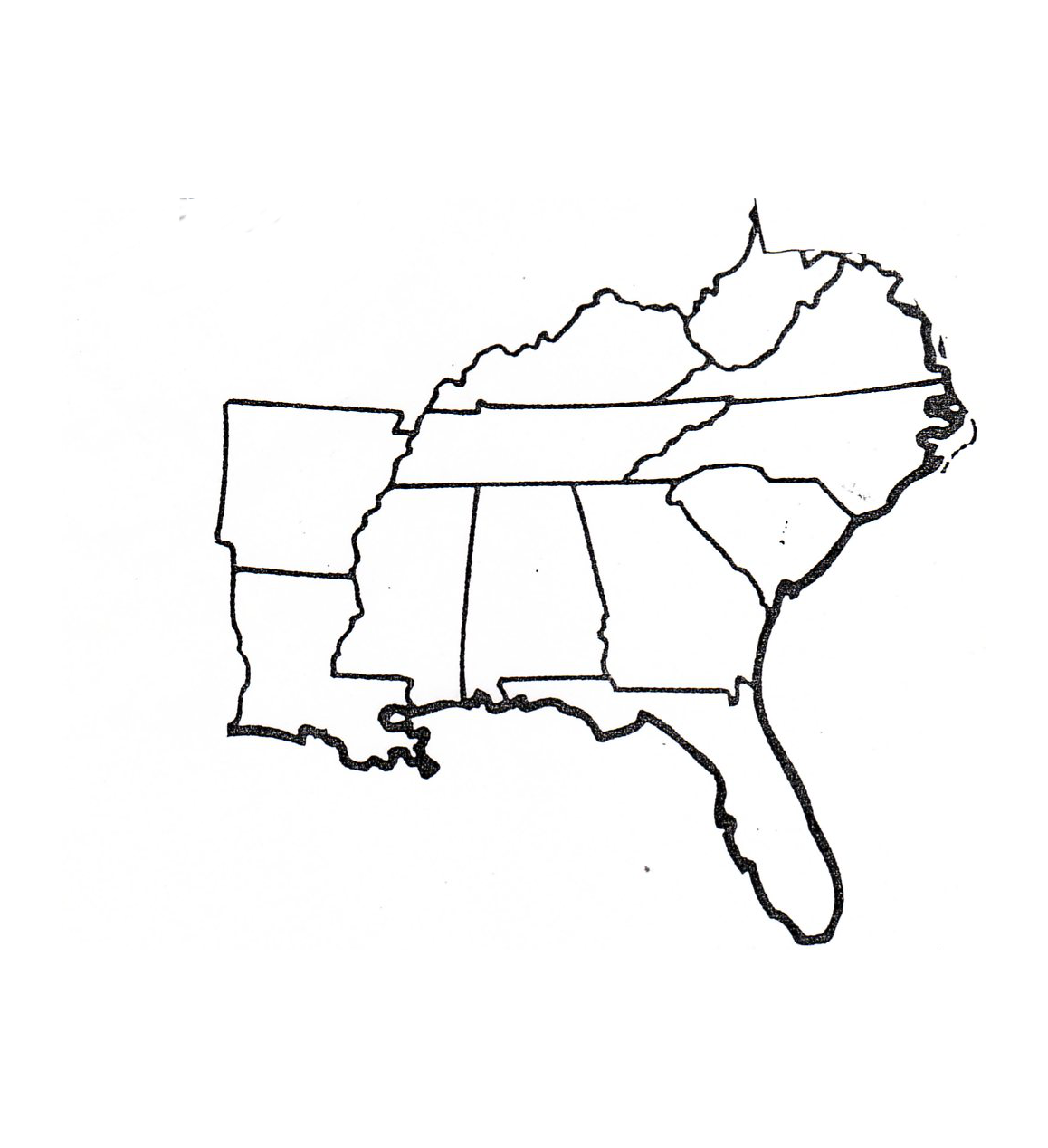 Blank Map Of Southeast Region Within Us