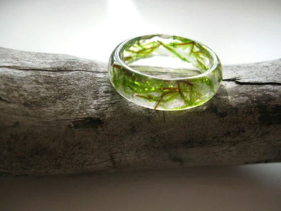 Green moss ring Eco resin Forest jewelry Botanical jewelry