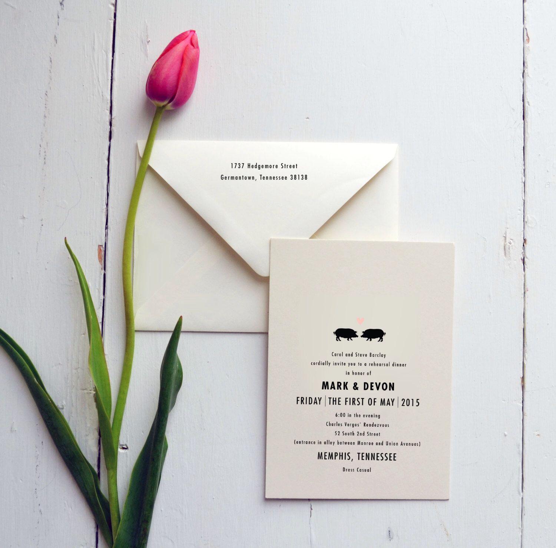 Love Pigs Rehearsal Dinner Invitation - JPress Designs, bbq ...
