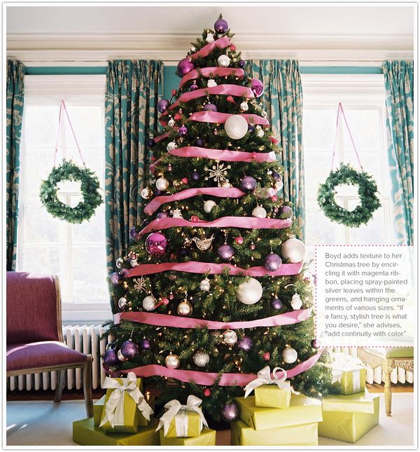 love the pink ribbons on the tree and hanging the wreaths