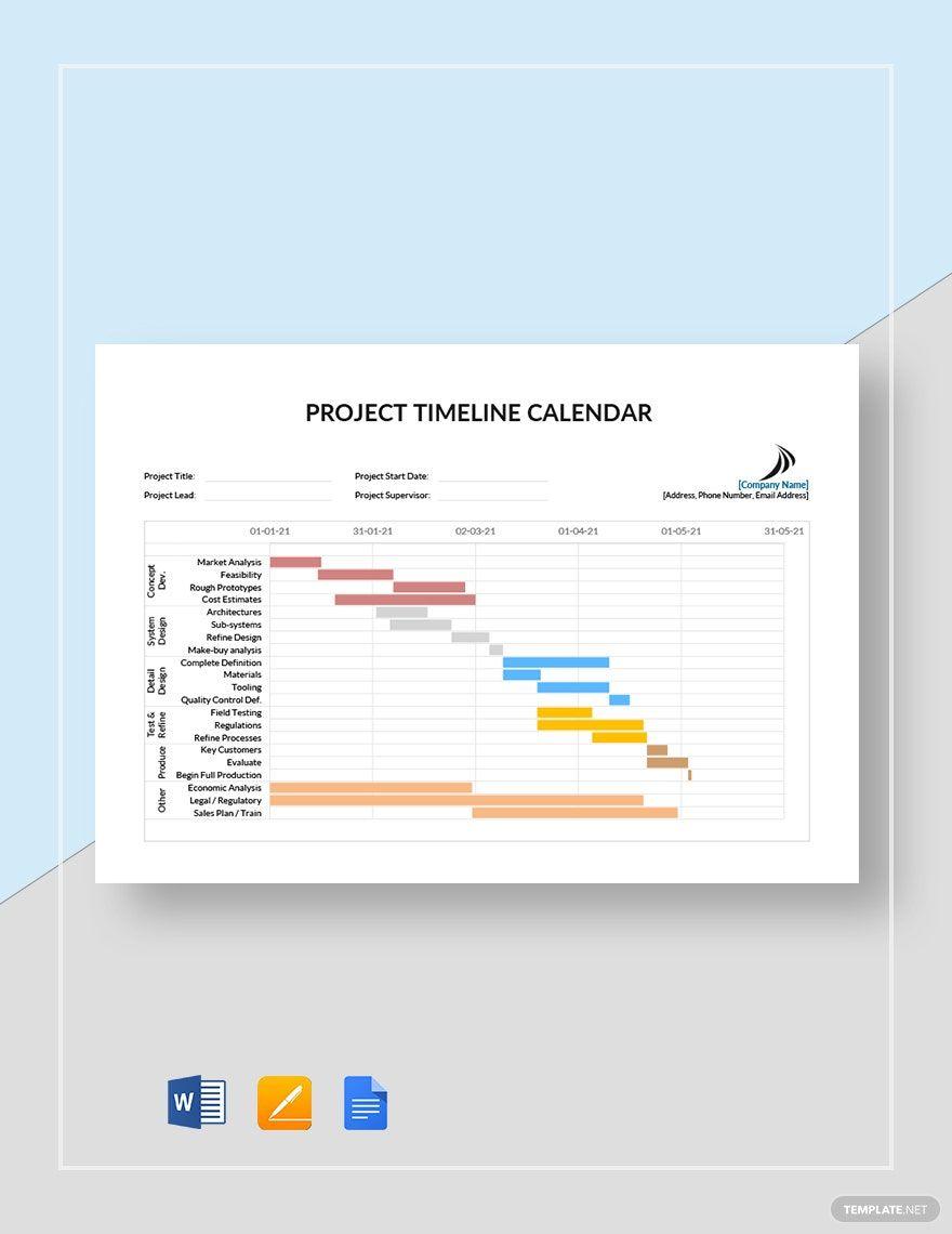 Project Timeline Calendar Template Google Docs Word Apple Pages Template Net Project Timeline Template Calendar Template Templates Project timeline template google docs