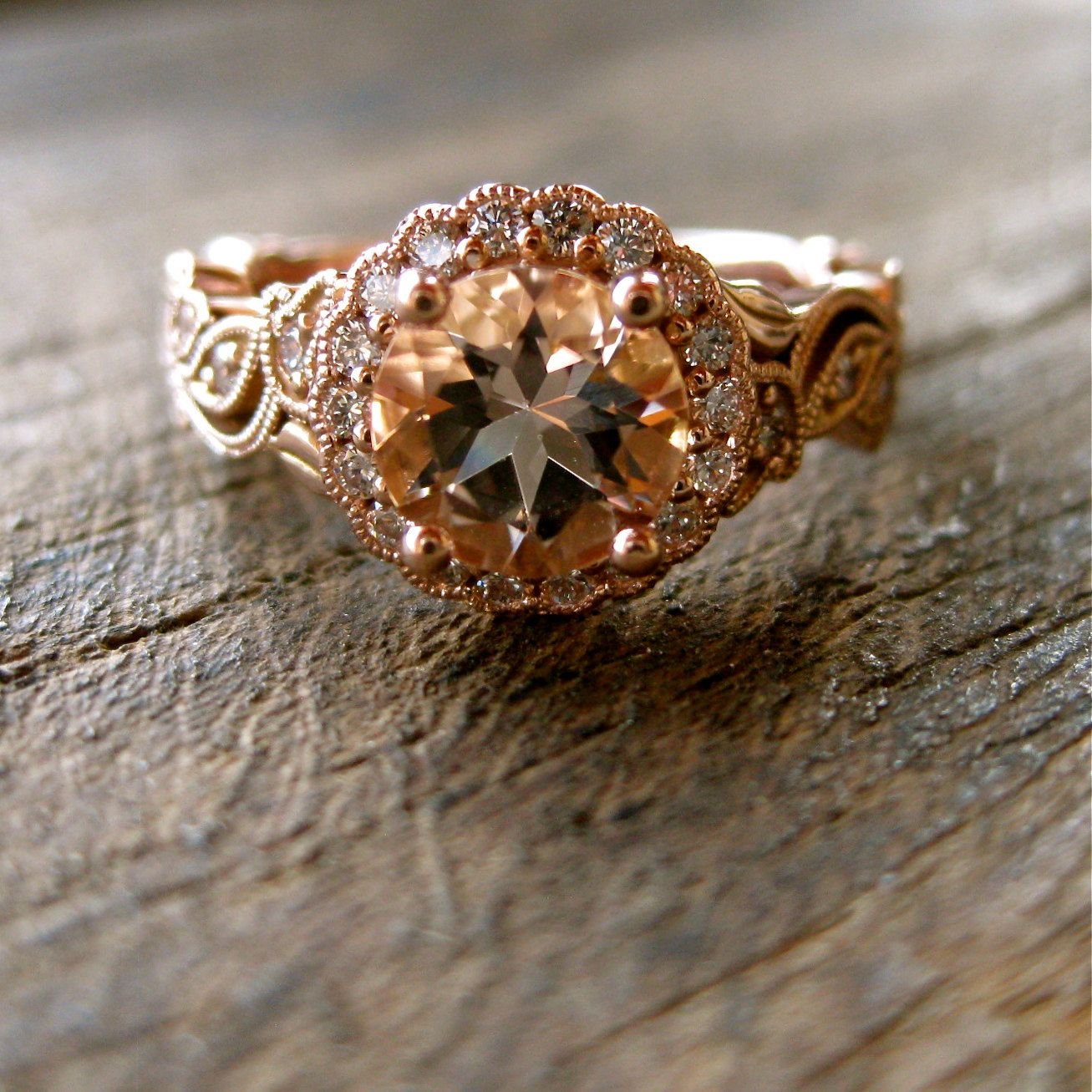 Peach Color Engagement Ring in by