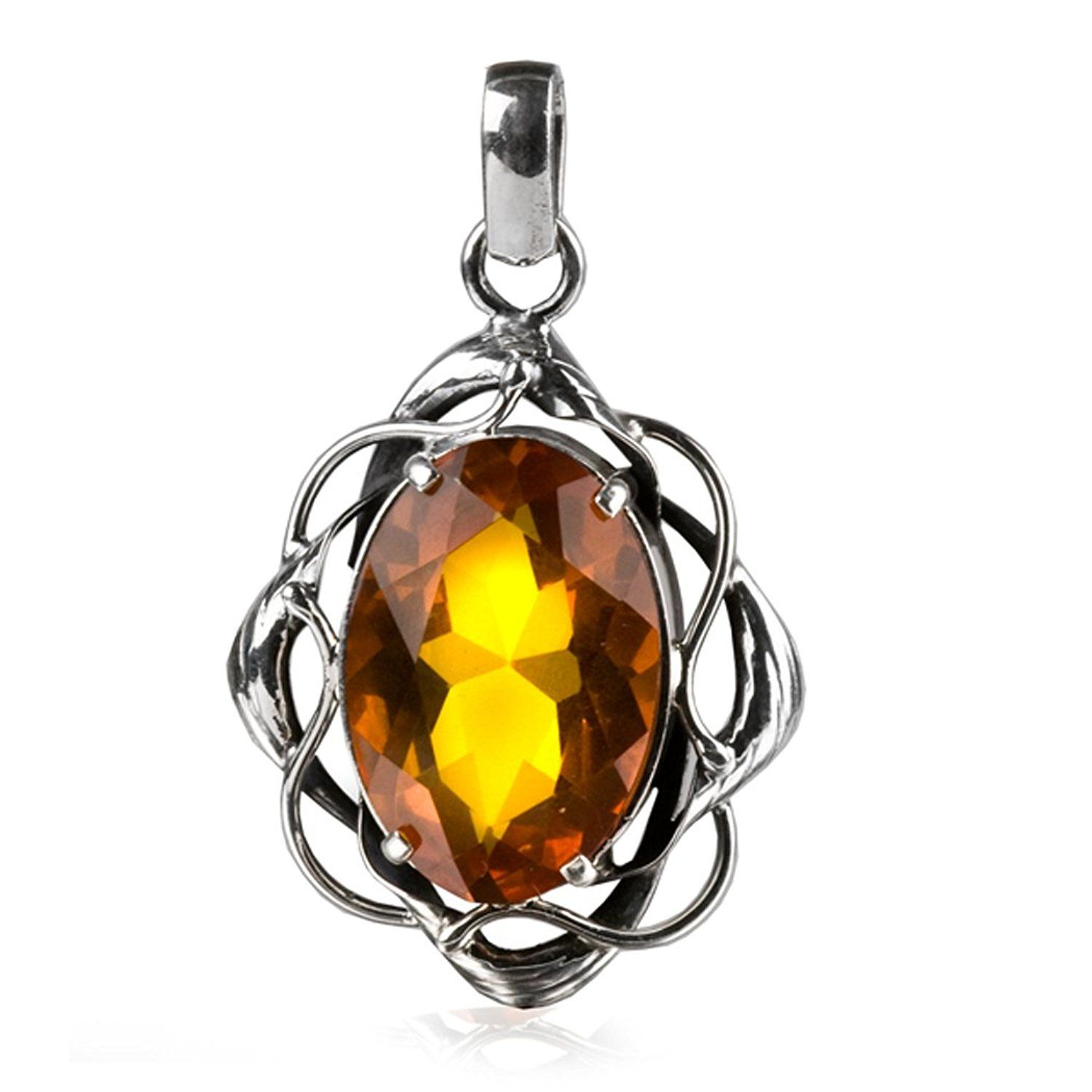 Baltic Honey Amber Sterling Silver Large Oval Pendant 90A0F