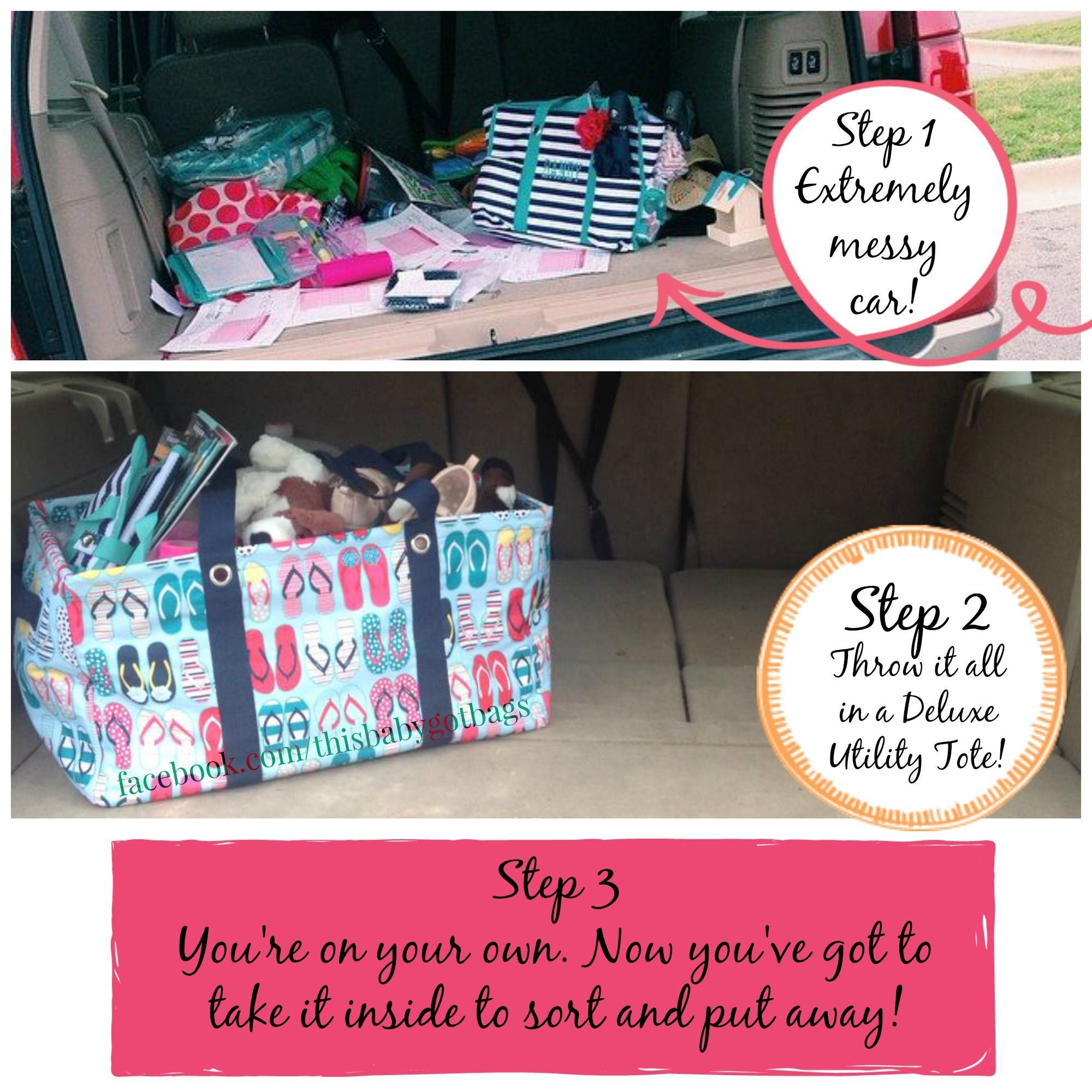 Thirty One, how to clean your car in three steps using the June Thirty One special. I love my deluxe utility tote!