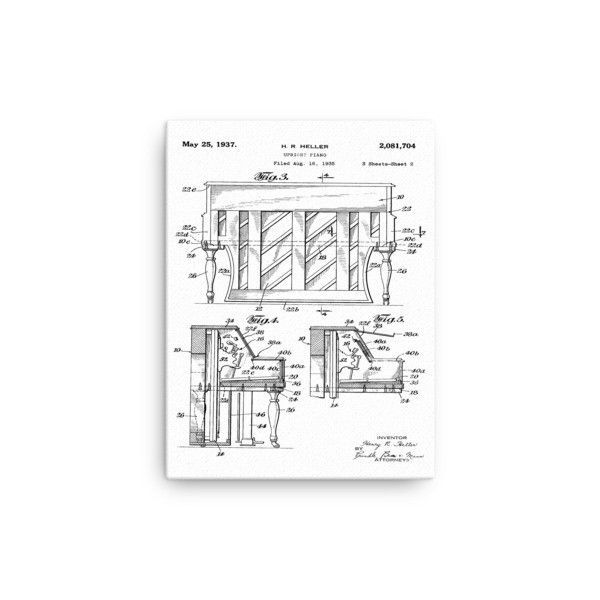 1935, Heller Upright Piano Patent 2- Canvas Print