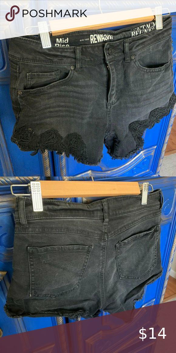 💜 Rewash Denin Shorts Black Lace Fringe Size 5