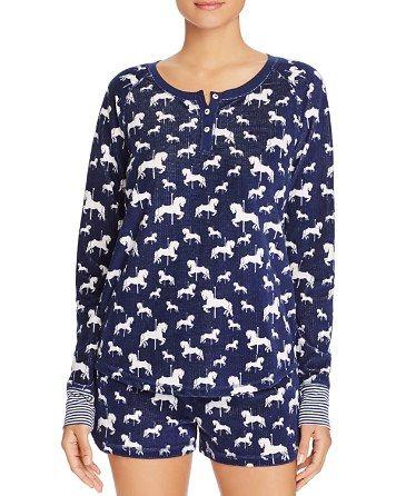 $PJ Salvage Carousel Horse Print Thermal Knit Top & Shorts - Bloomingdale's