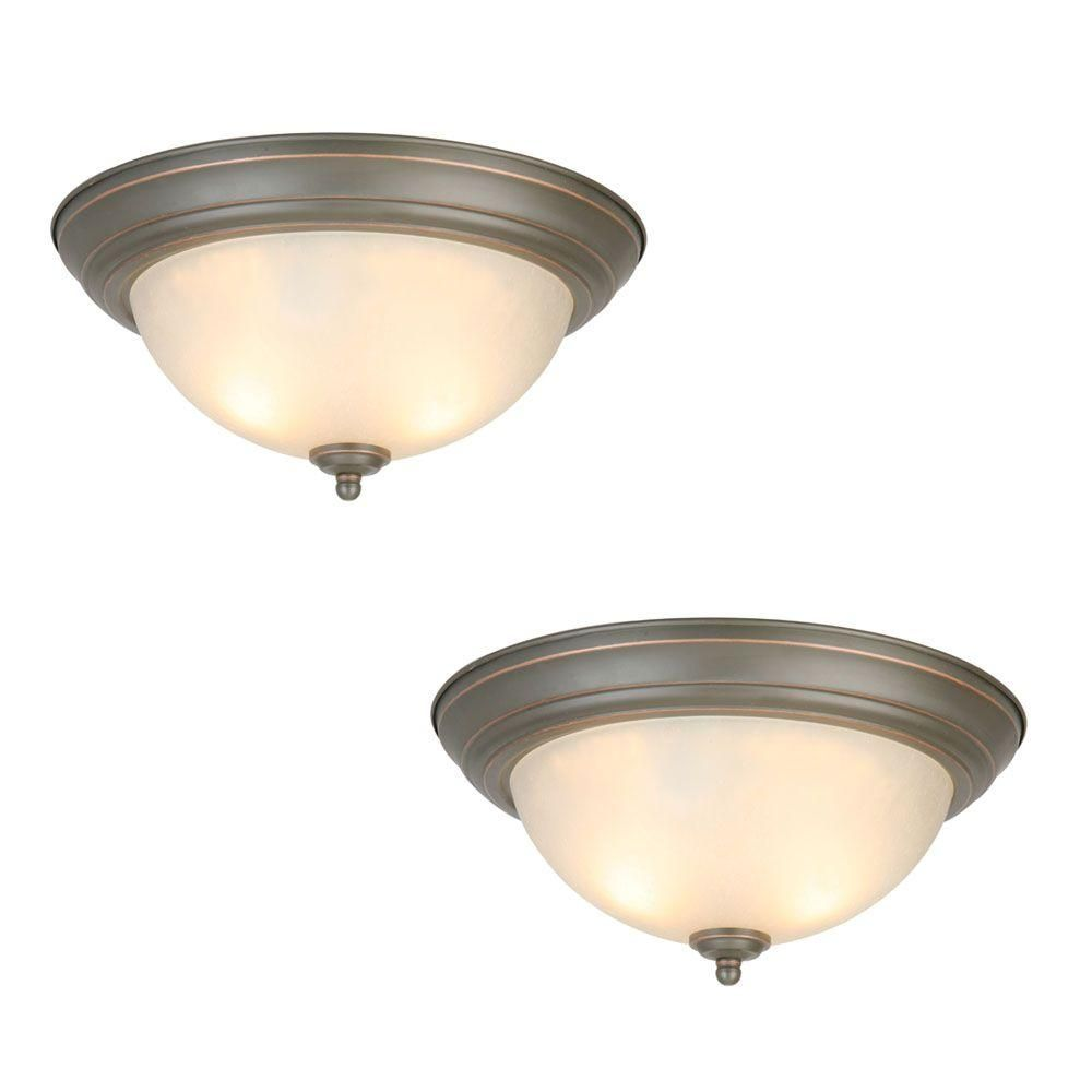 Commercial Electric 2 Light Oil Rubbed Bronze Flushmount (2 Pack) Photo