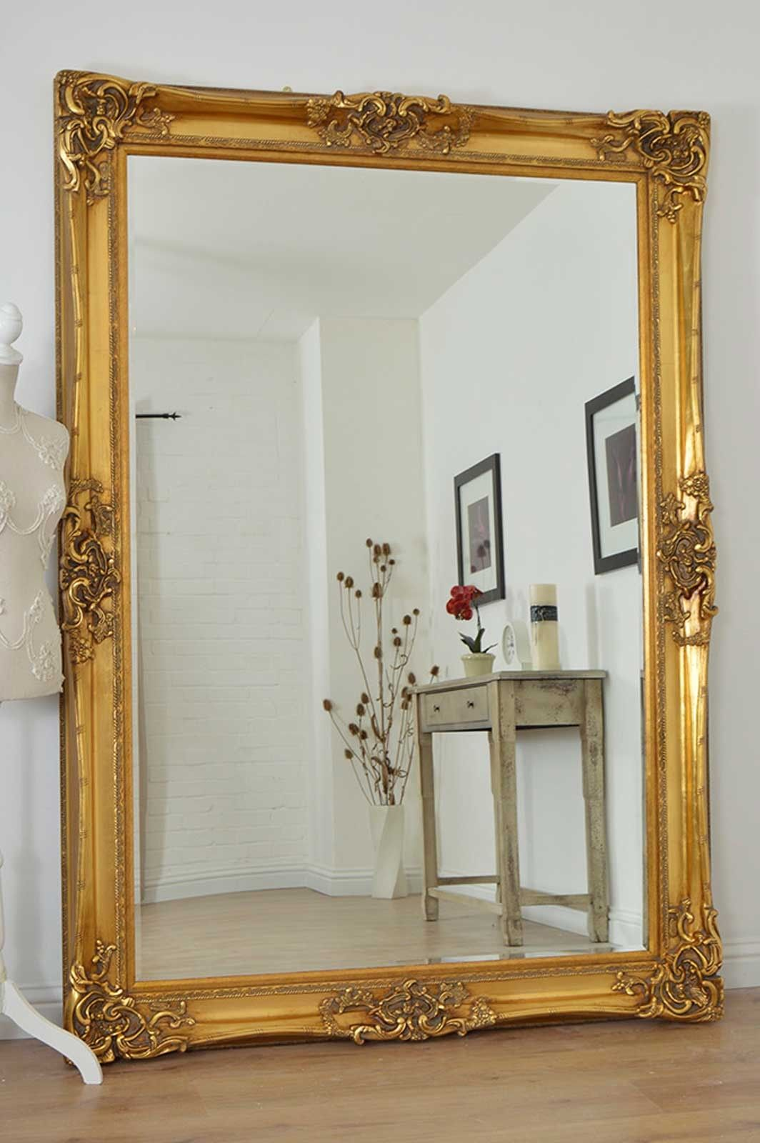Large gold very ornate antique design wall mirror 7ft x for Tall framed mirror