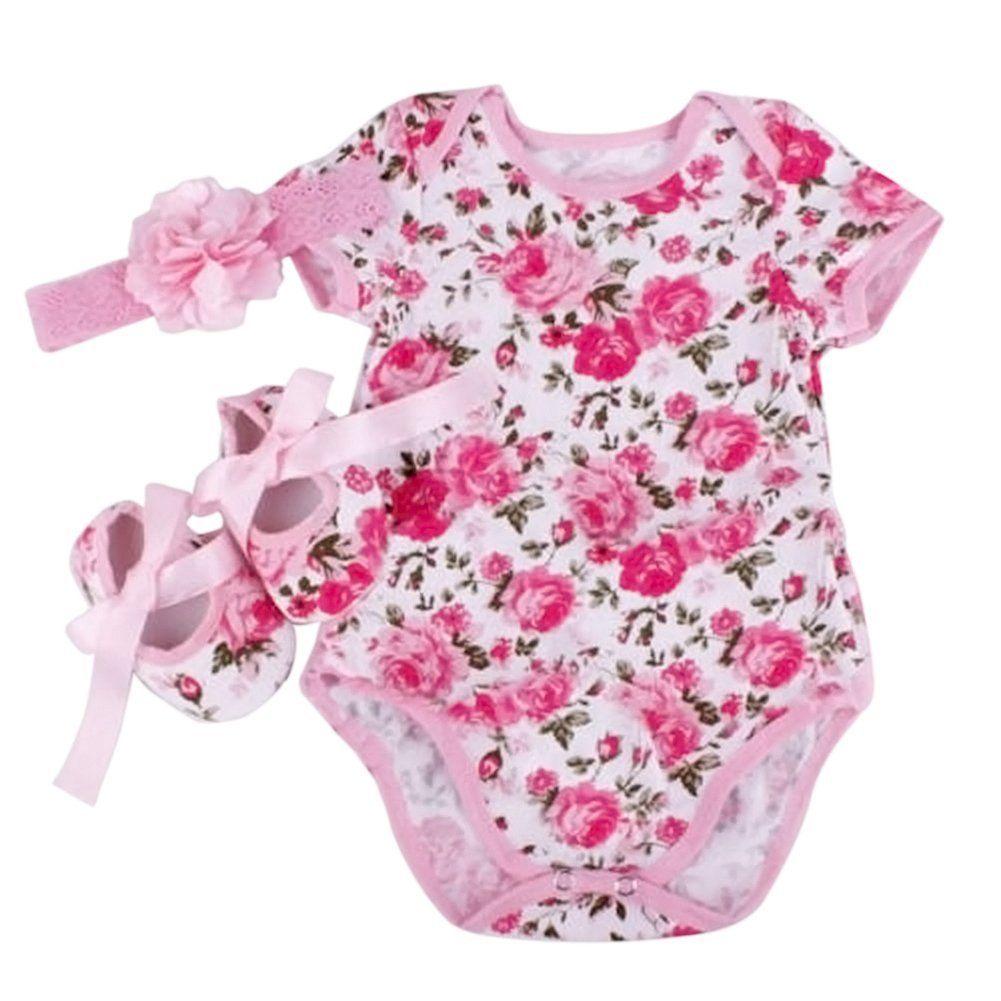 d1051cf4d Healthy Clubs Newborn Infant Baby Girl 3pcs Floral Romper Bodysuit ...