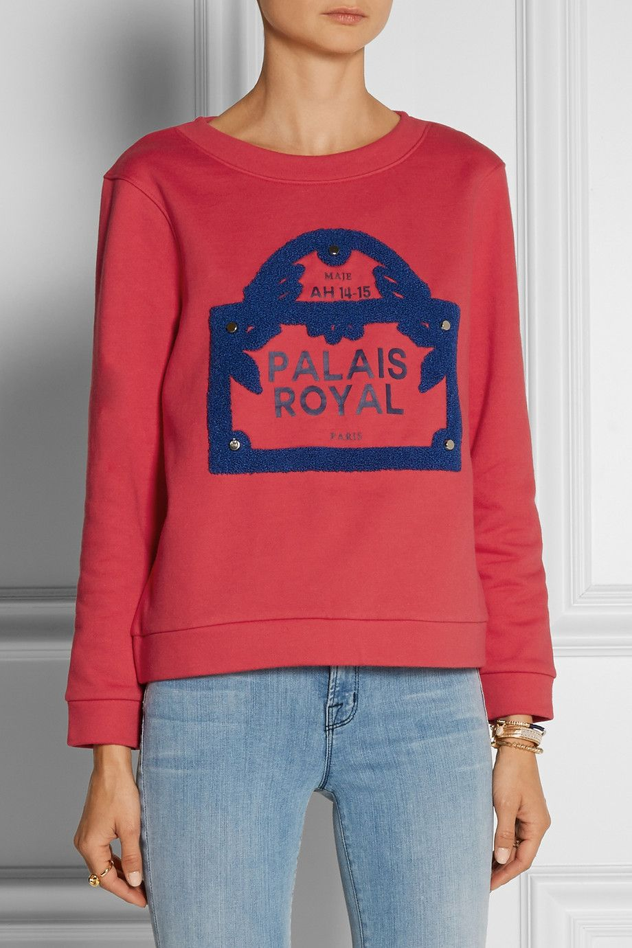 Maje|Guillaume embellished cotton French terry sweatshirt|NET-A-PORTER.COM