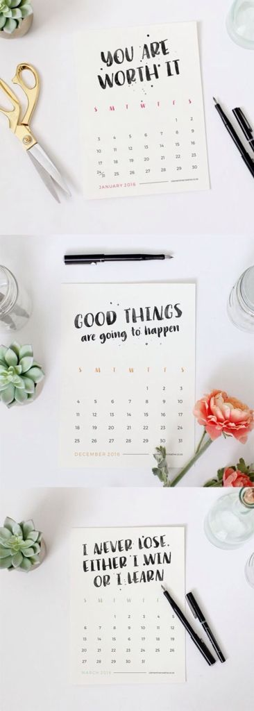 Adorable printable 2016 calendar from Clementine Creative with positive messages.This calendar will encourage you to stay positive, and remind you that you are an amazing person. Just print it out and place on your desk!