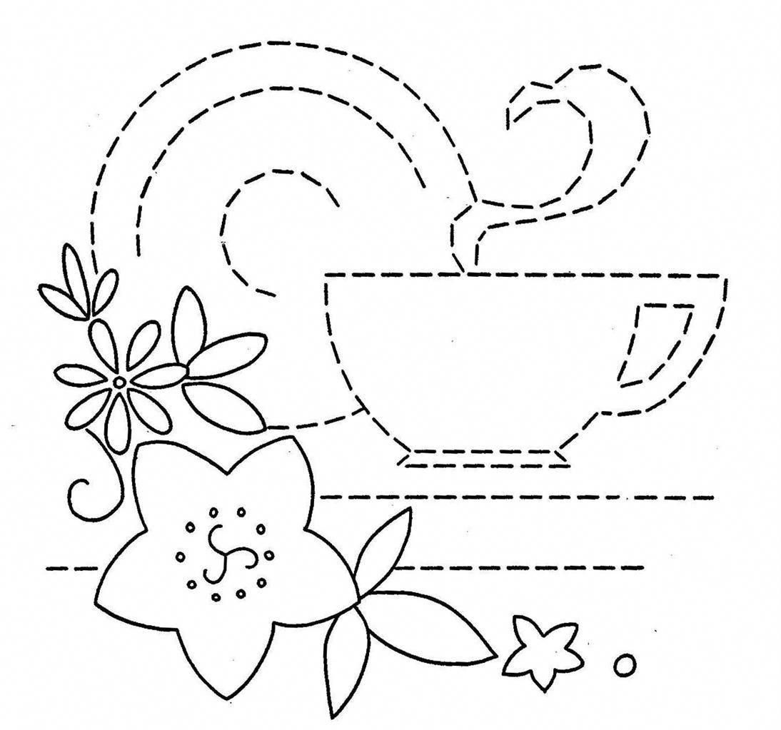 vintage embroidery pattern -- coffee cup: for a mug rug ...