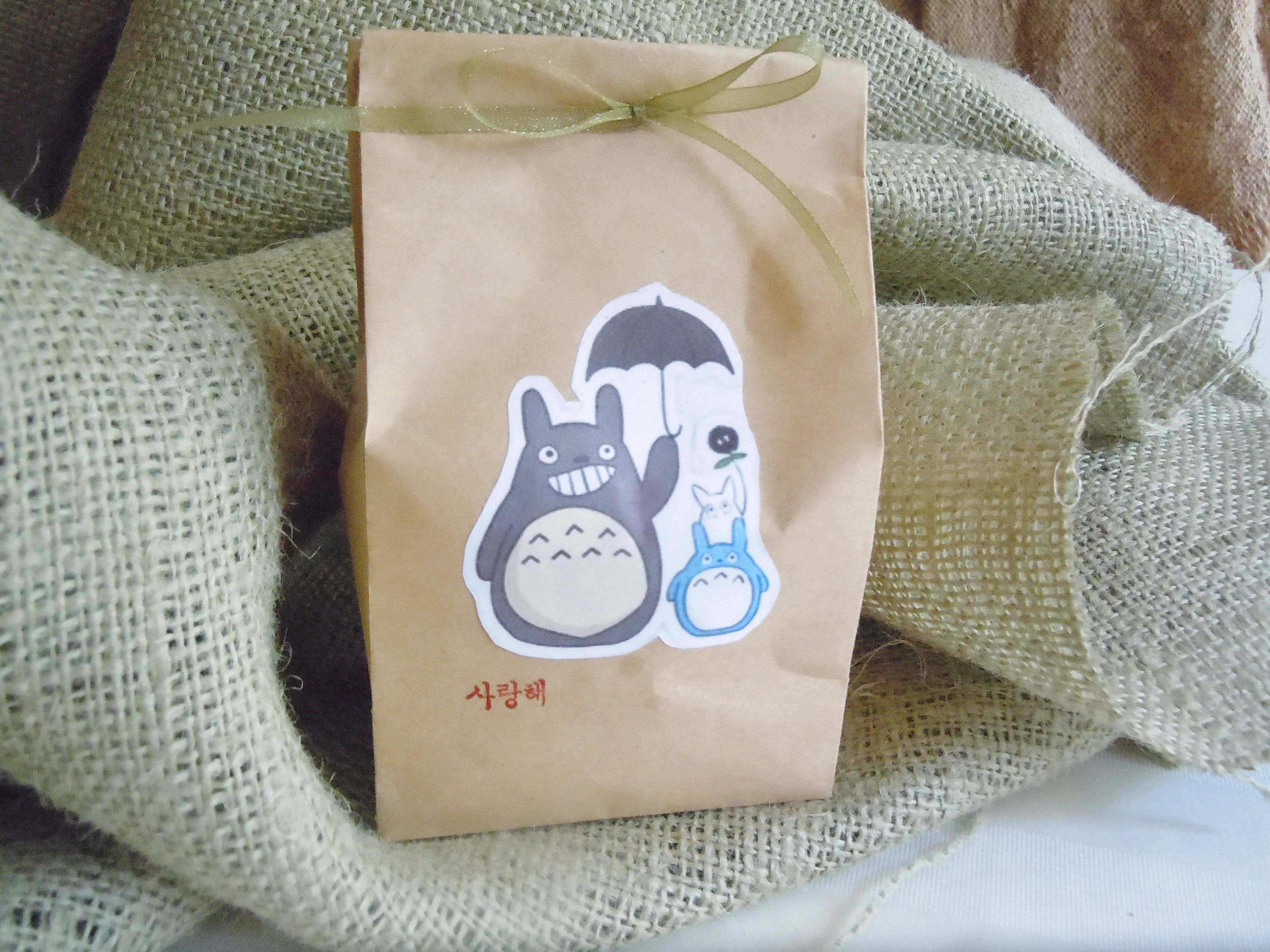 I got these small brown bags at the craft store and stuck a totoro