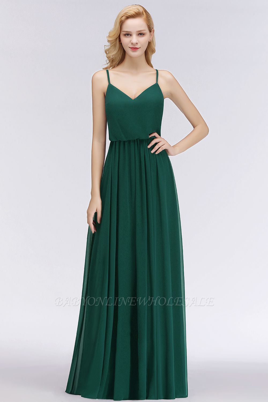 schlichtes chiffon brautjungfernkleid dunkelgrün | einfache