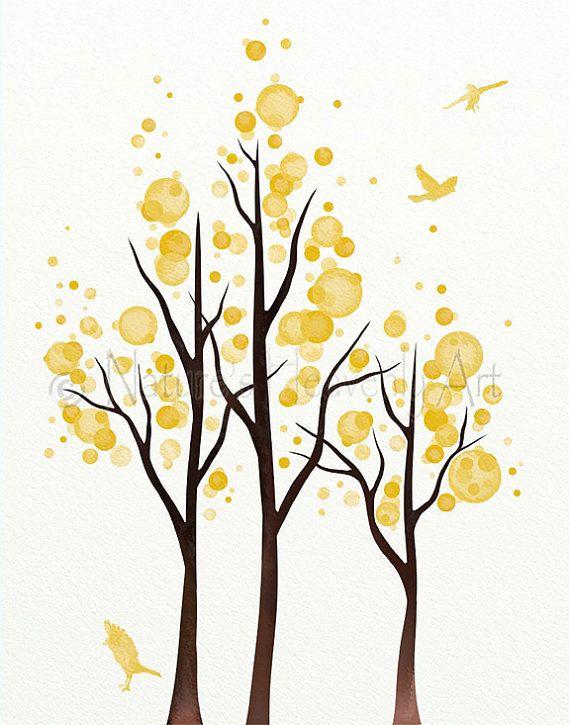 Lemon Yellow Wall Decor Living Room Print 11 x 14, Tree Wall Art for ...