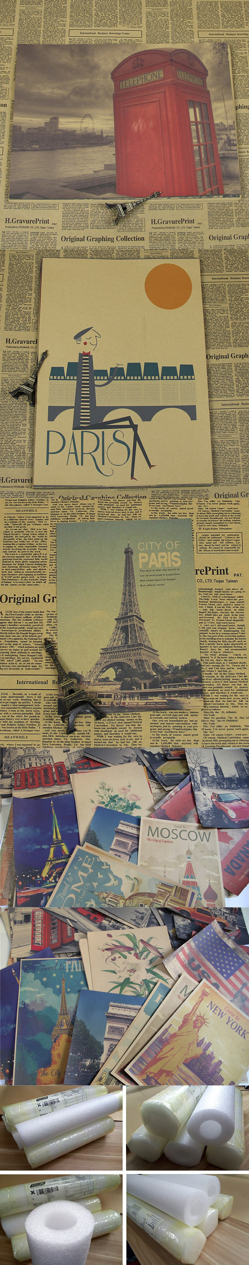 """retro vintage kraft paper """"France Eiffel tower famous building """" home decorative pictures for bedroom wall art sticker ID-057"""