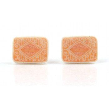 Custard Cream Biscuit Stud Earrings ( )