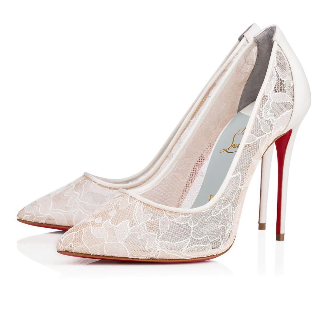 Christian Louboutin White Follies Lace Womens Version Ivory Chrisandelyse Christian Louboutin Wedding Shoes Louboutin Wedding Shoes Louboutin Wedding Heels