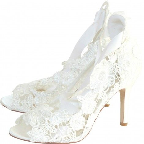 Violet By Perfect Bridal Shoes Company Ivory Lace Vintage Wedding Or Occasion
