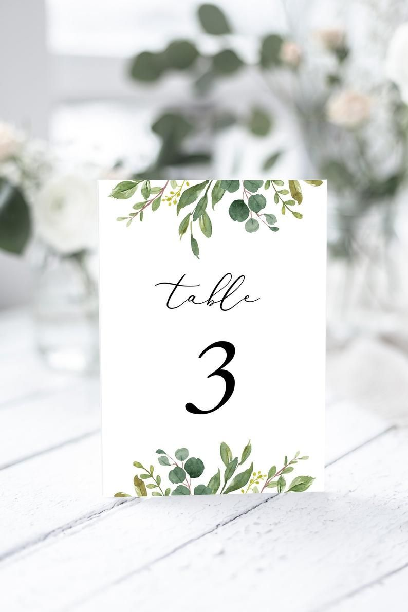 Wedding Table Number Template Greenery Wedding Table Card Printable Instant Downlaod Templett 100 Editable Wedding Table Numbers Template Card Table Wedding Wedding Table Numbers Printable