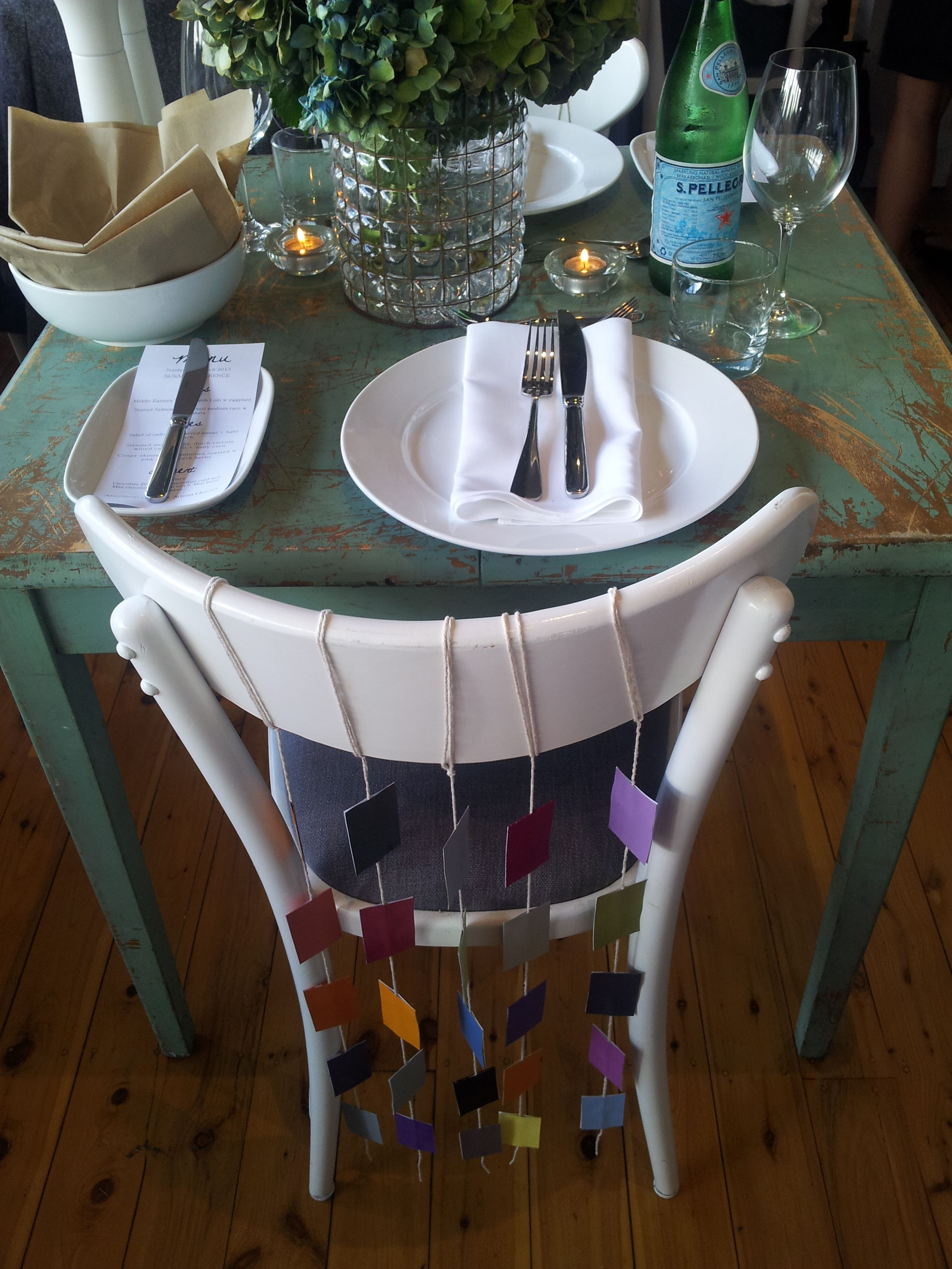 Project: Bride & Groom 'swatchy seats' decoration